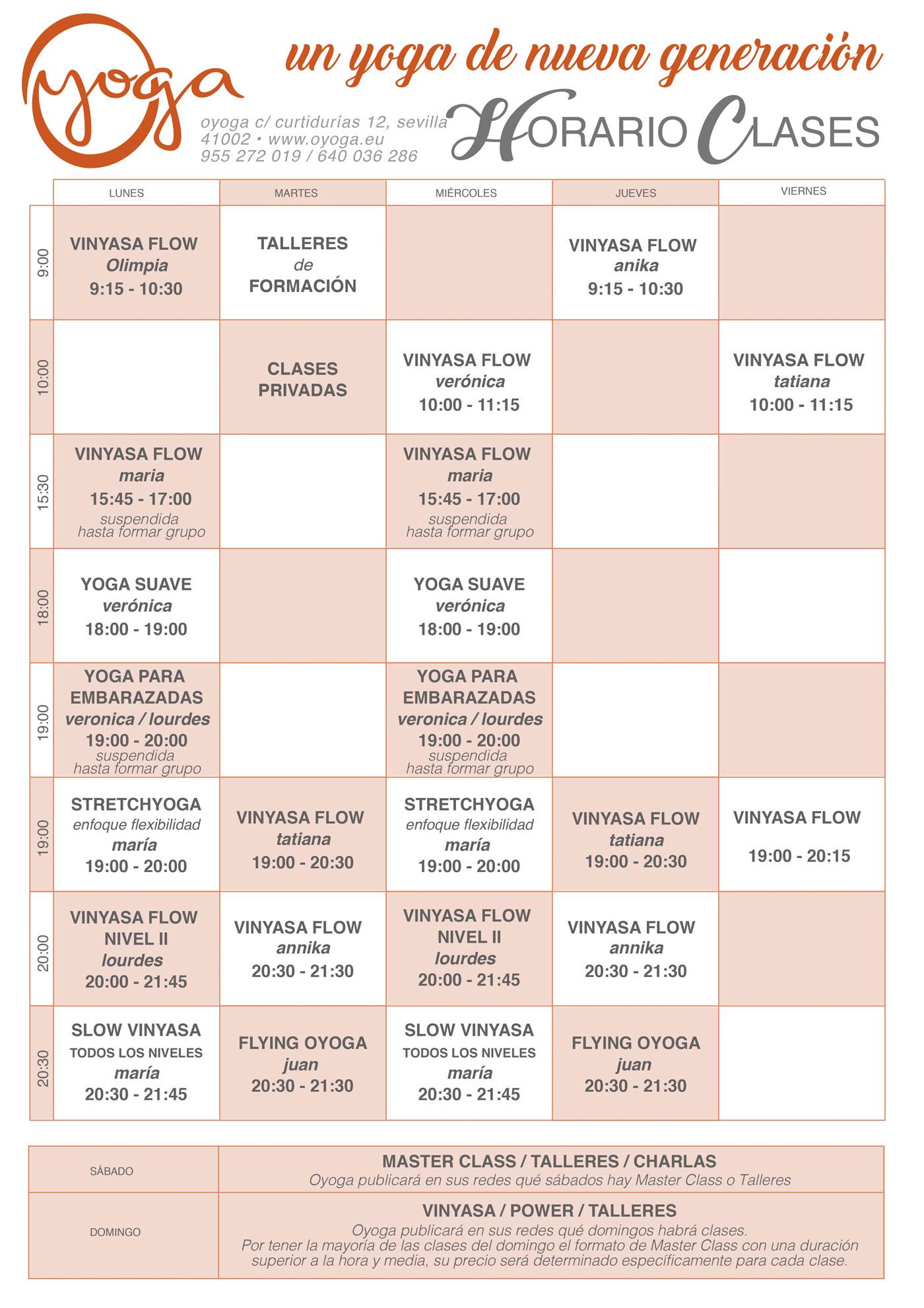Qyoga horario